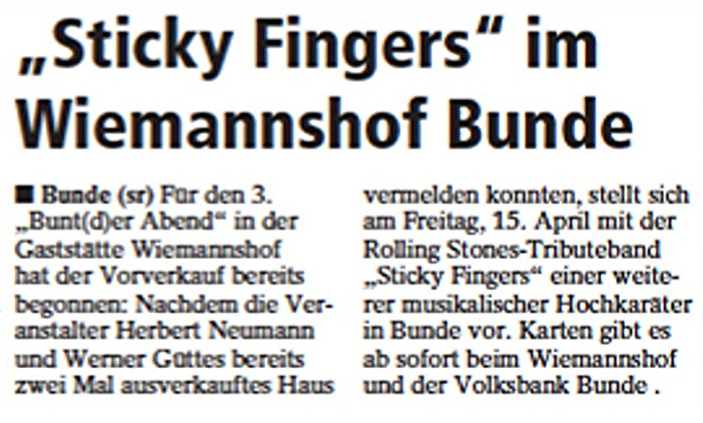 06 Sonntags-Report Sticky Fingers 06.03.2011